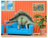 2 FOR 1 SALE - Stegosaurus dinosaur decor art print: Plant Eater