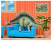 2 FOR 1 SALE - Stegosaurus dinosaur decor art print