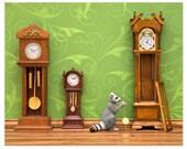 2 FOR 1 SALE - Woodland animal raccoon diorama art print: Clockwork