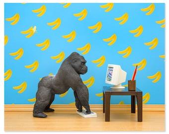 2 FOR 1 SALE - Funny gorilla animal art print