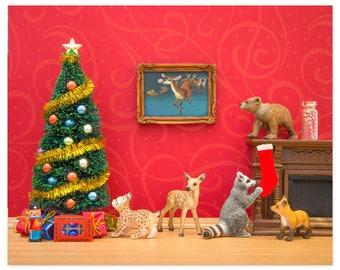 2 FOR 1 SALE - Christmas decor art print: Cozy Christmas