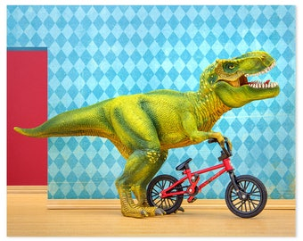 2 FOR 1 SALE - T. Rex dinosaur art print with BMX bicycle