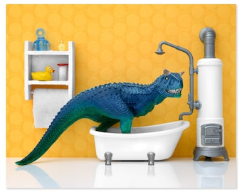 2 FOR 1 SALE - Funny dinosaur bathroom art print