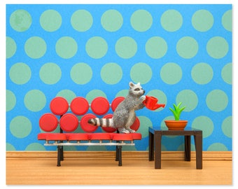 2 FOR 1 SALE - Mid century modern animal art print with a raccoon