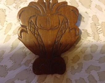 Vintage carved wooden  Brooch Pin modern design