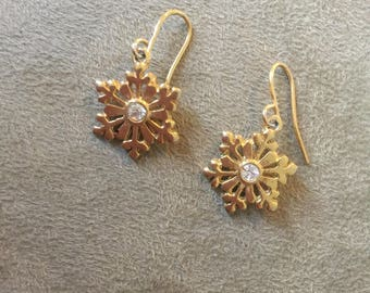 Vintage Dangle Snowflake Earrings