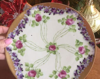 Hand Painted Cabbage Rose Plate Vienna