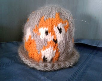 Handknit Baby Hat with 3 Foxes
