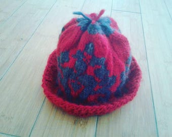 Child's Handknit Hat with Baroque Colorwork, a Beautiful Cloche or beanie!