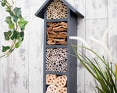 Bee Hotel, Bee House, Insect House, Solitary Bee Hotel, Garden Decoration, Wildlife House, Four Tier, in 'Urban Slate'.