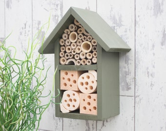 Two Tier Insect and Bee Hotel, in 'Old English Green'. Can be personalised.