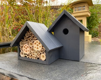 The Birds and the Bees, Bird Box & Bee Hotel, Nesting box and Insect House, Gardener's Gift. Large. Can be personalised.