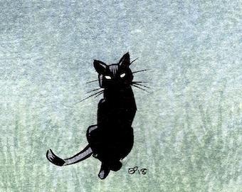 Little Black Cat ACEO