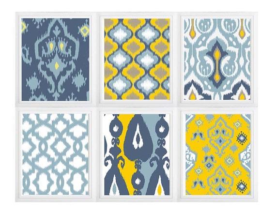 Mustard Blue White Tan Ikat Wall Art Print Set of 6 Modern | Etsy