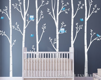 Nursery Wall Decals White Birch Trees With Owls Birds Wall Mural Stickers  Nursery Tree Wall Decal Owl Birds Wall Art Nature Wall Decals