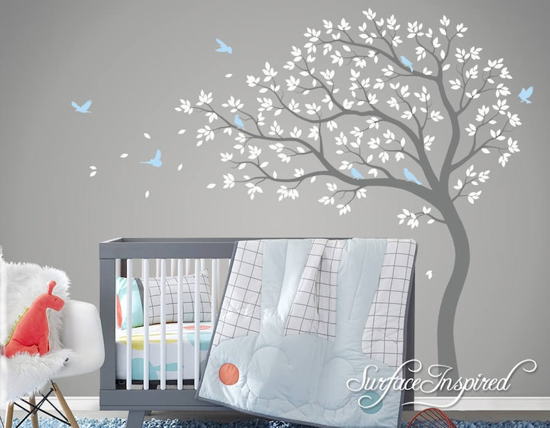 . Tree Wall Decal Nursery Large Tree wall decal Wall Mural Stickers Nursery  Tree and Birds Wall Art Tattoo Nature Wall Decals Decor