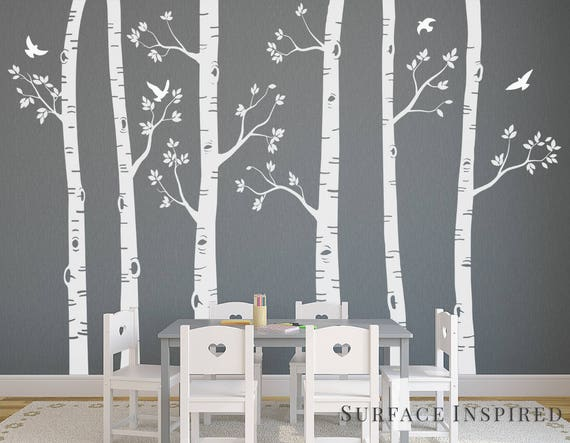 nursery wall decals white birch trees wall decal large tree | etsy