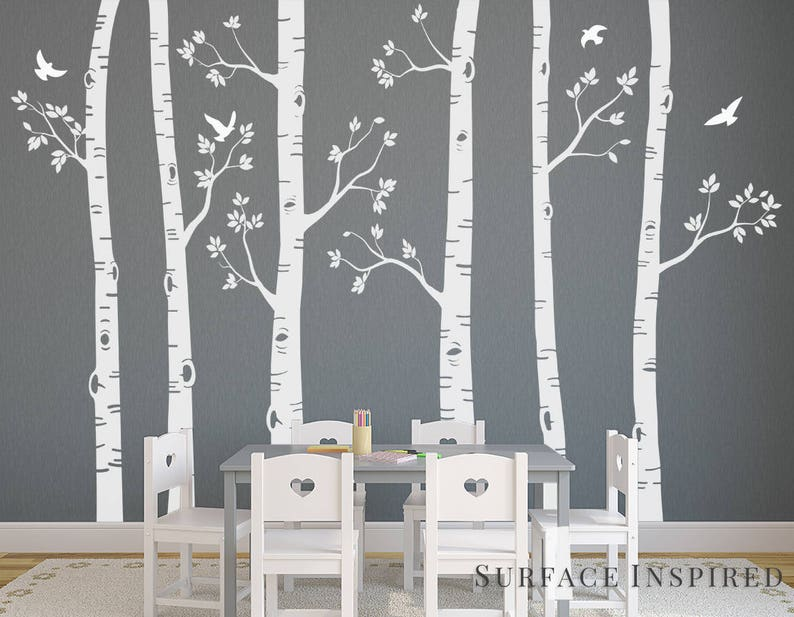 . Nursery Wall Stickers White Birch Trees Wall Sticker Large Tree Wall Mural  Stickers Nursery Tree and Birds Wall Art Nature Wall Stickers