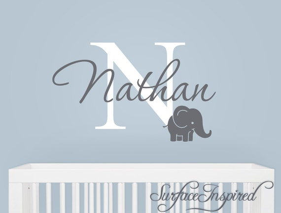 161bafc9eea42 Name Monogram Wall Decal - monogram wall decal with adorable elephant and  personalized name.