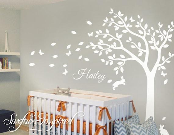 Kinderzimmer Wand Aufkleber Weiss Baum Wandtattoo Grosser Baum Etsy
