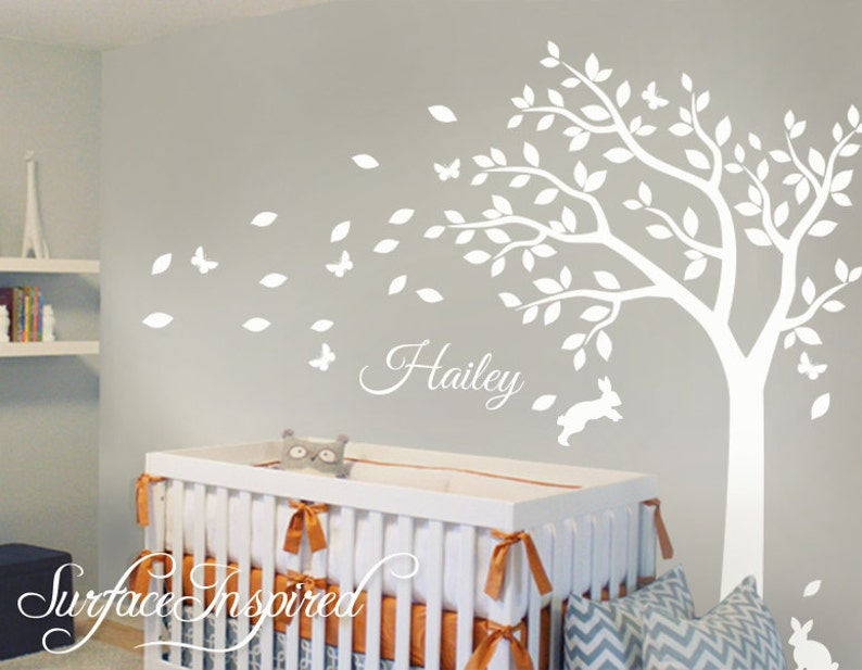 nursery wall decals white tree wall decal large tree decal | etsy