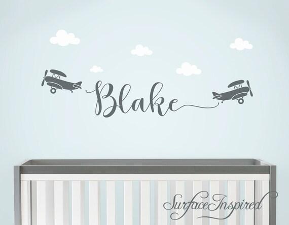 Stickers Parete Personalizzati.Stickers Murali Personalizzati Nomi Vivaio Decalcomania Bambini Aeroplani Wall Decal Nome Decalcomanie Da Muro Per Ragazzi Baby Nursery Blake Con
