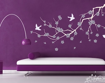 Vinyl wall art decal - Purple Cherry Blossom Design - SPRING SALE