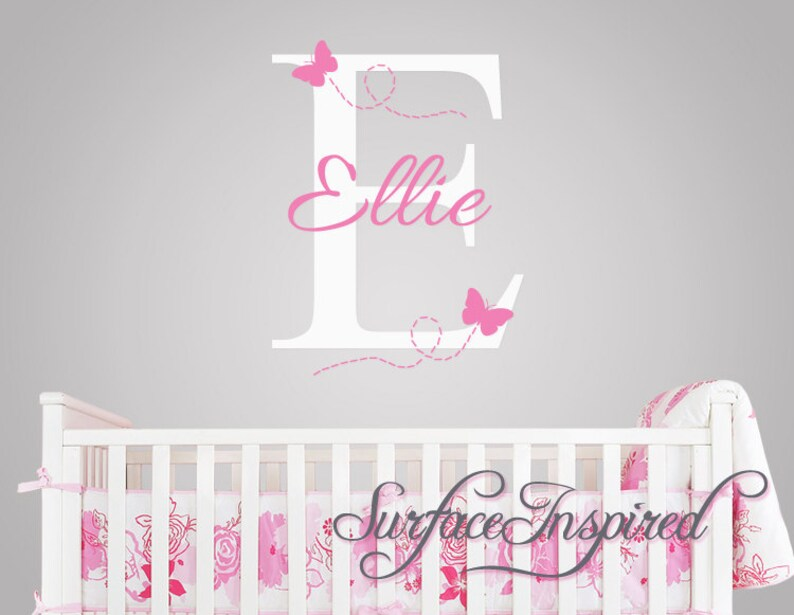 nursery wall decals. ellie with flying butterfles name wall decal | etsy