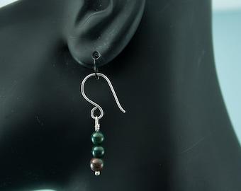 Blood Stone Dangle Earrings Womens Earrings Unique Earrings Stone Earrings Simple Earrings Green Earrings Handmade Ear Wires E140