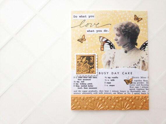 Do what you LOVE, love what you do  Handmade Card - mustard yellow, recipe,  butterflies - thank you, graduation, congratulations