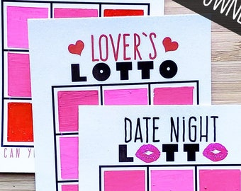 Lover's Lotto DIY Scratch Off Cards   Date Night Ideas or Romantic Gift Idea   Unique Love Coupon or Sexy Valentine   Digital Download