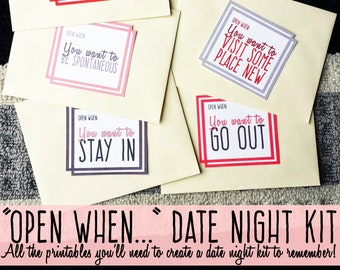Open When Date Night Box - Valentine's Gift or Anniversary Gift   Make Your Own Kit with Date Night Ideas   DIGITAL DOWNLOAD