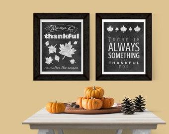 """8x10"""" Thankful Chalkboard Duo Digital Prints - DIGITAL INSTANT DOWNLOAD"""