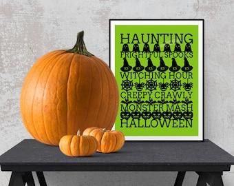 Halloween Subway Art Printable   Halloween Typography   Halloween Wall Art Decor - DIGITAL INSTANT DOWNLOAD