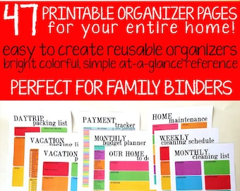 The Organized Family Binder Kit   Printable Household Organizer, Home Management and Family Organizer - INSTANT DIGITAL DOWNLOAD
