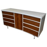 Midcentury Dresser with Concave Form, 8 Drawers and Herring-Bone Center Panel