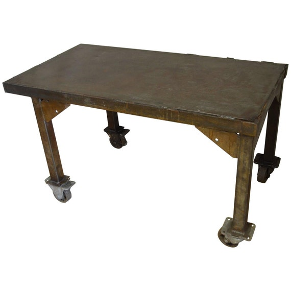 Steel Rolling Coffee Table Work Table Flat Screen Tv Stand Etsy