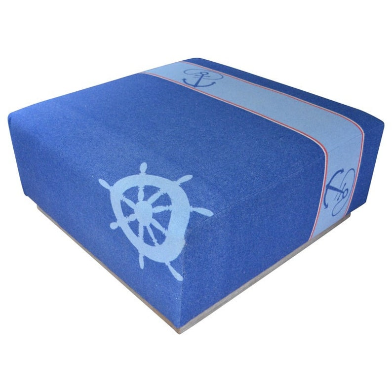 Ottoman Coffee Table Upholstered in Nautical Flannel Blanket image 0