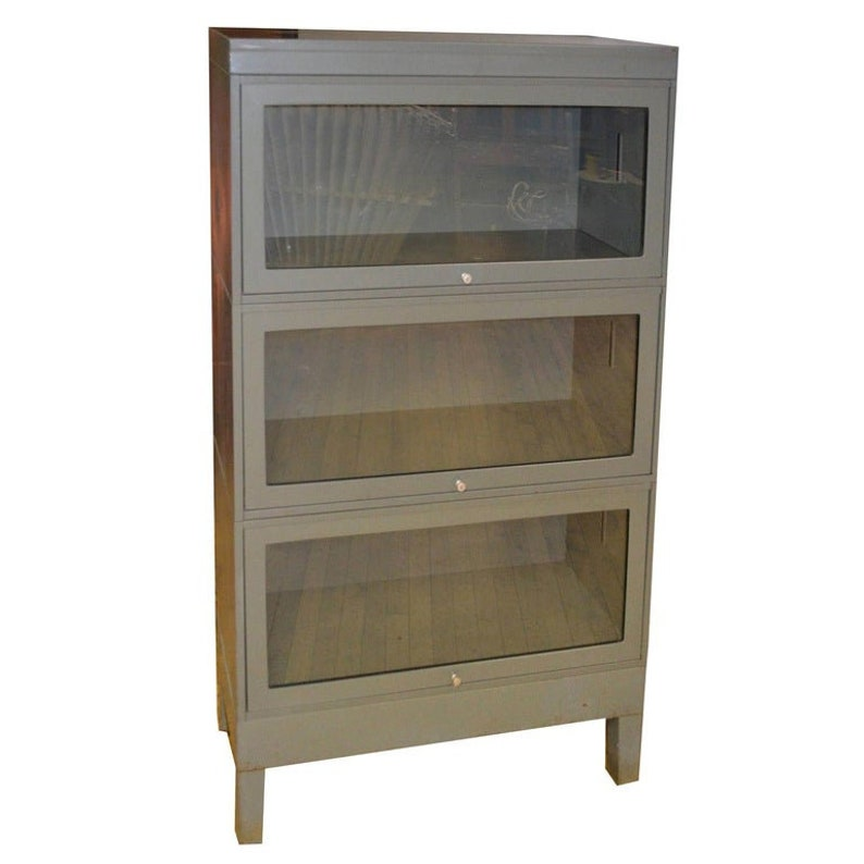 Storage Barrister Cabinet / Bookcase Three-Section Grey Steel image 0