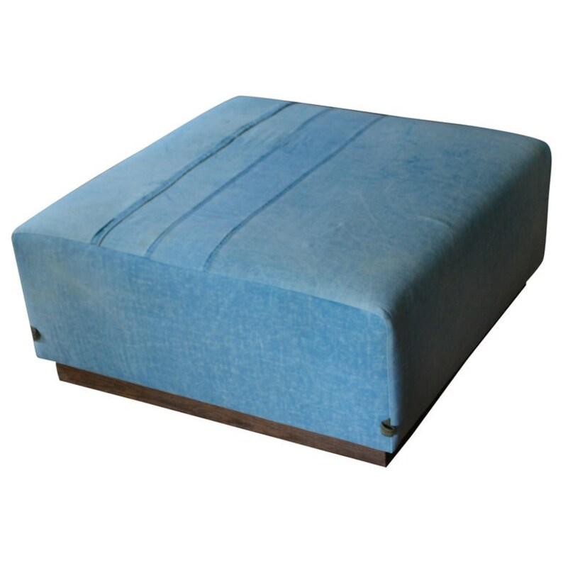 Ottoman Coffee Table Upholstered in 1960s Blue Tent Canvas image 0