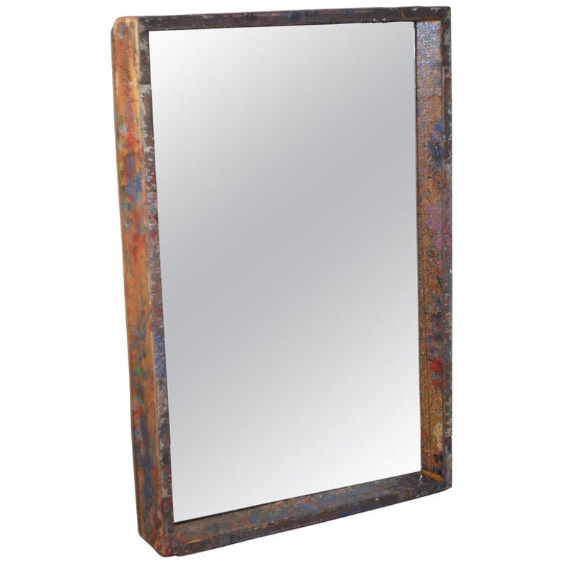 Mirror in Industrial Wood Frame Box from 1950s Auto Paint image 0