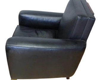 Sofa Club Chair, Mid-century France, Black Leather. In the manner of Emile-Jacques Ruhlmann