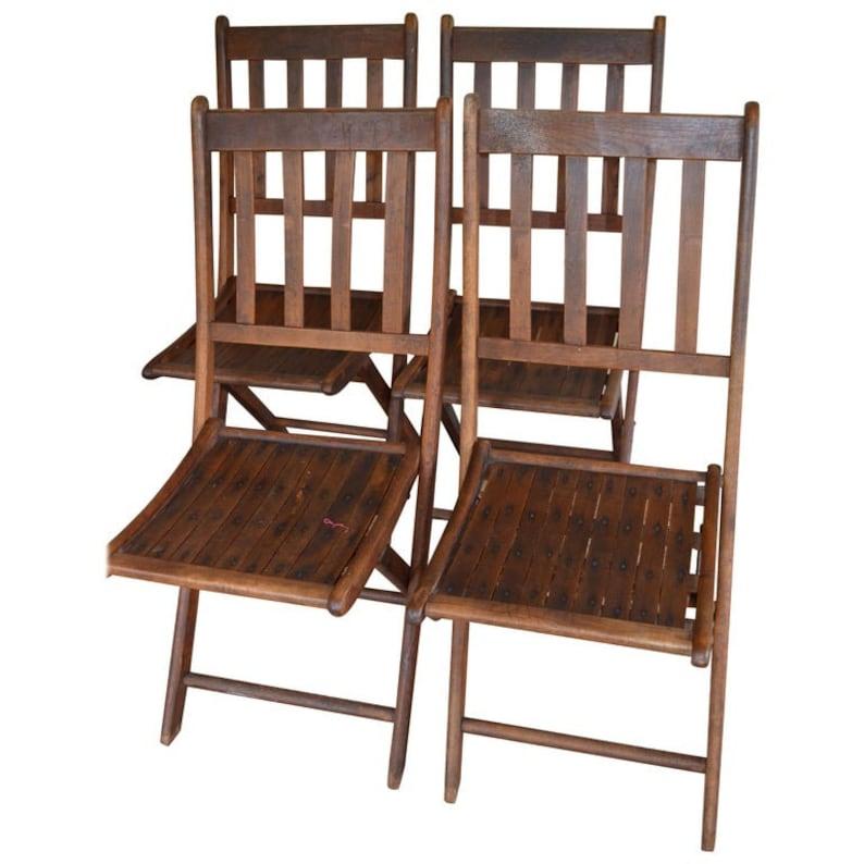 Chairs of Oak Folding Late 19th Century European Set of 4 image 0