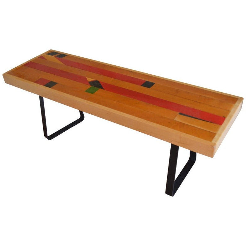 Bench from Vintage High School Gym Flooring on Painted Black image 0