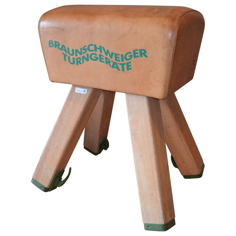 Gymnast Goat Pommel of Leather with Wooden Legs from Germany image 0
