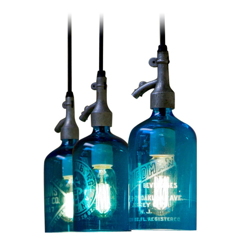 Pendant Light from Etched Glass Seltzer Bottle. Clear Blue or image 0
