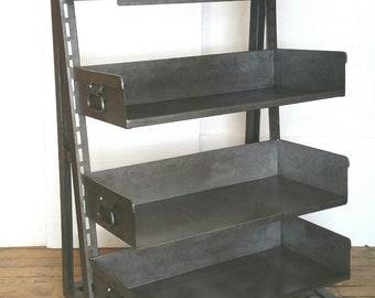Steel Storage Rack Cart Vintage Industrial Shelving Cabinet from Factory with Adjustable Bins