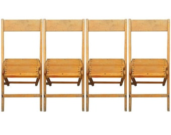 Set of Four Vintage Antique Oak Snyder Folding Chairs for 195/set. (NOTE: 300 chairs or 75 sets available!)