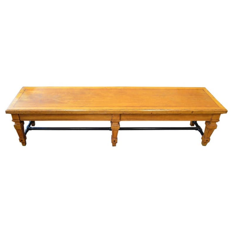 Bench from Parisian Bank 1900s Carved Legs and Oak Top with image 0