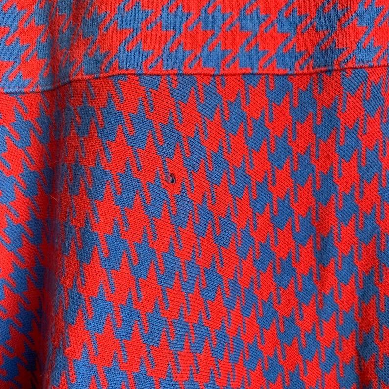 Bill Blass 80\u2019s Houndstooth Blue and Red Dress